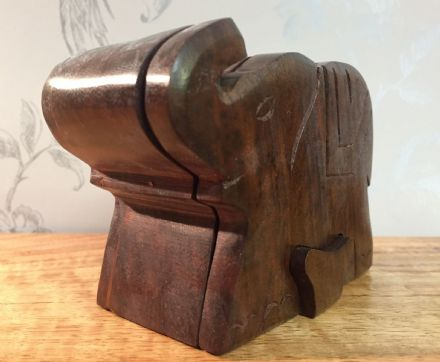 Dark Wood Handcrafted Elephant Puzzle Box
